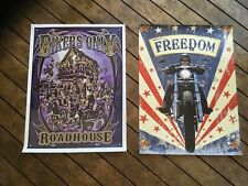 2 x vinyl POSTERS man cave flags mancaveidea garage Biker  motorcycles motorbike
