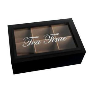 Teebox Teekasten Tea Time 6 Fächer Glasdeckel schwarz