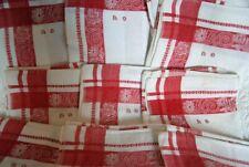 RED & WHITE 11 PICNIC PERFECT VINTAGE FRENCH JACQUARD LINEN NAPKINS ANTIQUE SET