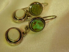 Lia Sophia Vintage 80's - Mod Green Turquiose Mo Pearl Pierced Earrings 130o7