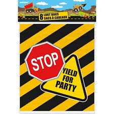 Construction Birthday Pack of 8 Party Loot Bags, JCB, Truck, Digger, Road,