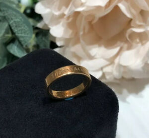 AUTH TIFFANY & CO LOGO 18K ROSE GOLD BAND RING 4MM US 5.75