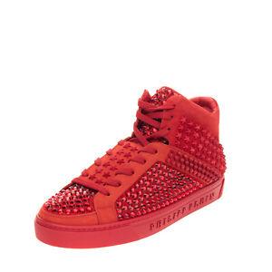 RRP€1190 PHILIPP PLEIN Leather Sneakers EU 44 UK 10 US 11 Star Studs Rhinestones