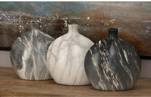 Set of 3 Gray Ceramic Decorative Vases, Flat Rounded Oval, Short Neck, Marbled