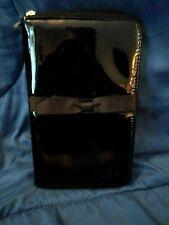 IT Cosmetics Black Patent Leather Zip Up Travel Make up Case Brush Holder NEW!!!