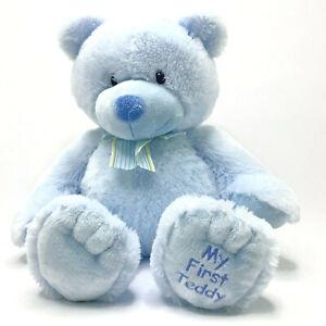 Russ Berrie Plush My First Teddie Blue Bear With Bow Stuffed Animal Medium