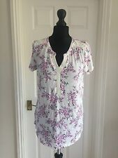 M&Co white pink floral summer tunic top size 12 UK / 40 Eur RRP £24
