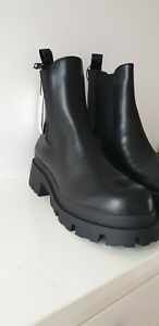 ZARA  BLACK MID-HEEL ANKLE BOOTS WITH TRACK SOLES  NEW SIZE UK 5&6&7 EU 38&39%40