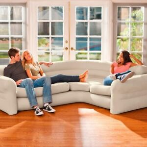 NEW Intex Inflatable Air Corner Sofa/Couch Waterproof Flocked 257x203x76 cm ✅✅✅