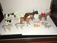 Playmobil Loose LARGE LOT FARM ANIMALS 3 HORSES 2 FOALS 2 COWS DONKEY 5 PIGS