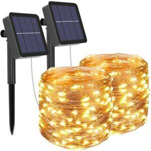 2x 100 LED Solar Lichterkette 10M Kupferdraht Wasserdicht Party Außen Deko neu