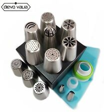 Russe Piping 25pc Set 10 Fleur/Ball Tip + Silicone Sac, attelages & 2 feuilles Astuce