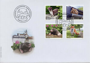 Switzerland Fauna Stamps 2021 FDC Animals in City Foxes Moles Stoats 4v S/A Set