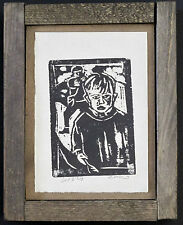 BILLY CHILDISH - V RARE HUDDY SIGNED WOOD BLOCK PRINT IN ARTIST MADE WOOD FRAME