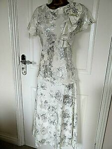 Saloos Size UK-14 ivory/Silver wedding outfit Top/Skirt the skirt is lined