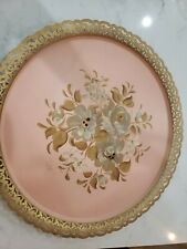 Vintage Nashco Toleware Metal Tray Hand Painted Pink Floral Rose Shabby Chic 18""