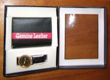 Men Vintage 2 pc 1 Tri-Fold Leather Wallet & 1 Black Face Watch Set Work Gift