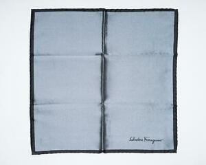 Salvatore Ferragamo Gray Black Border Text 100% Silk Pocket Square 13""