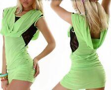 Sexy Miss Ladies Waterfall Girly Mini Dress Lace Raff 34/36/38 Green Black