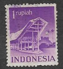INDONESIA POSTAL ISSUE USED DEFINITIVE STAMP 1949 BUILDINGS TORAJA HOUSE