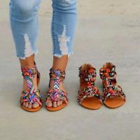 Bohemian Flat Sandals Womens Ankle Strap Zip Flat Flip Flops Beach Shoes