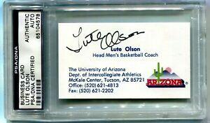 BUSINESS CARD SIGNED LUTE OLSONON BASKETBALL COACH ARIZONA, NCAA BASKETBALL