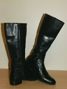 GEOX RESPIRA D MENDI ST.B BLACK LEATHER KNEE HIGH boots size 4.5 uk / 37 eur