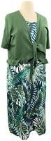 Denim & Co 1X Green Tropics Knit Sleeveless Dress w/ Tie Front Bolero A351582