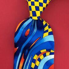 Rush Limbaugh Tie Art Deco Check Vibrant Turquoise Blue Necktie Silk Ties m3 New