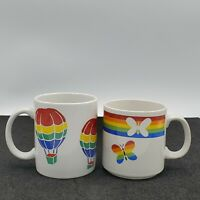 Set of 2 Vintage Russ & FTD  Rainbow Heart & Balloon Coffee Tea Cup Mug Pride