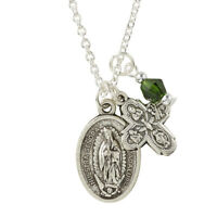 Detailed Our Lady of Guadalupe Silvertone Medal + Four Way Cross Pendant + Charm