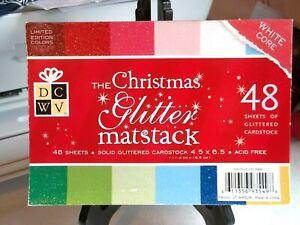 DCWV CHRISTMAS Glitter Matstack Scrapbooking Paper Card Stock 48 Sheets