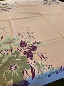 Vintage Cotton Tablecloth Printed Pink Purple Flowers On White - Chic! MCM Retro
