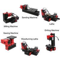 6in1 Mini Lathe Machine Tool Motorized Mini CNC Machine Saw Grinder Driller