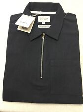 Norse Projects Vilmer SS Cotton Linen Twill Zip Front Shirt Size XS Dark Navy