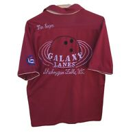 Vintage Men's Bowling Shirt Red Burgundy Galaxy Lanes  Medium
