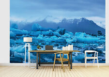 Wall mural photo wallpaper + FREE adhesive 144x100inch Floating blue Iceland