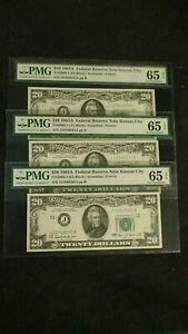 3 CONSECUTIVE 1963 A PMG GEM UNC 65 EPQ KANSAS CITY Notes $20 Bills BUY IT NOW!