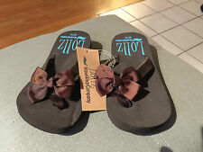 Girls Shoes Kids Waveware Flip Flops Arch Support Brown w/ Brown Bows SIZE 9/10