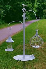 White Metal Garden Wild Bird Feeder Table Bath Nut Seed Water Food Station