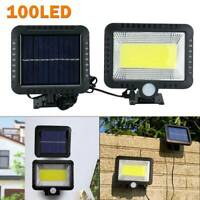 100 LED Solar Powered PIR Motion Sensor Garden Wall Lights Security  Outdoor