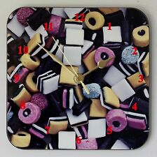 Square Wall Clock Liquorice Allsorts For any Sweet Lover Size 19cm by 19cm