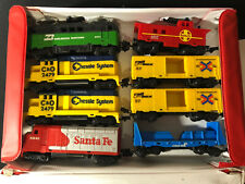 LOT of 8 1983 Vintage HOT WHEELS Railroad Cars & Engines Trolley with Carry Case