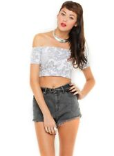 BNWT Topshop Motel Bardot Top Size S 10 Paisley Grey White Festival Crop Indie