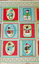 "Happy Holidays Snowmen Christmas Benartex Fabric Panel  23""   #4571"