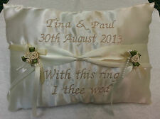 Personalised ring cushion pillow ~ ribbon style wedding day Gift keepsake
