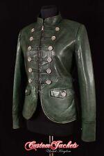 Ladies MILITARY PARADE Leather Jacket Dark Green Designer Studded Rock Jacket
