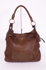PRADA Cervo Antik Brown Deer Leather Handle Shoulder Strap Medium Size Hobo Bag