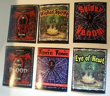 12 CREEPY BOTTLE STICKERS Halloween Fun 2 Sets Easy Self Stick New in Packages