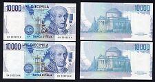 RaRo 10 mila lire A.Volta 1997  FDS Variante Colore (2 banconote consecutive)